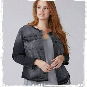 Lane Bryant Black Denim Deconstructed Jacket